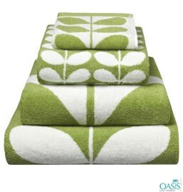 Green and White Bath Towels