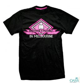 Black Colored Tee With Pink Floss Print