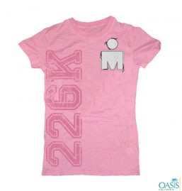 Candy Pink Tee With Minty Print