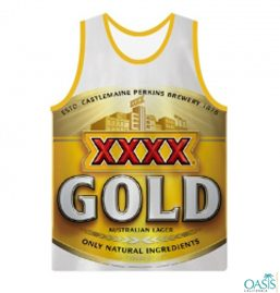 Sleeveless Printed White And Gold Tee