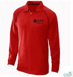 Zipped Bold Red Collared Sweatshirt
