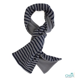 Black Stripe Scarf in Grey