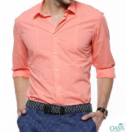 Light Peach Mens Dress Shirt