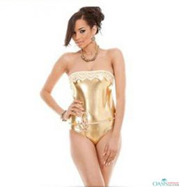 Gold Strapless Swimwear