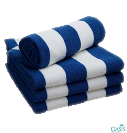 Navy Blue and White Striped Towels
