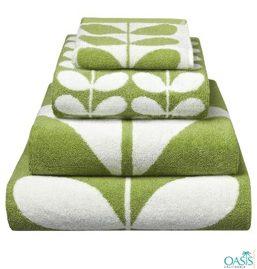 Green and White Bath Towels