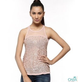 Sequined Vest Tops Distributor
