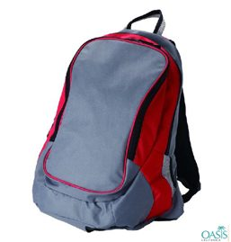 Grey and Red School Backpack Supplier