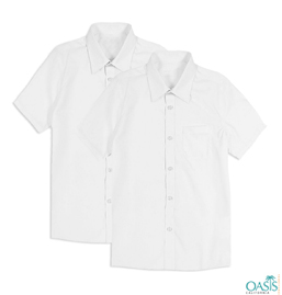 White Half Sleeve School Uniform Shirt Supplier